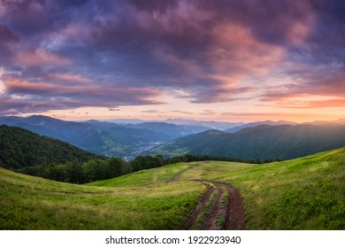 Mountain dirt road at beautiful sunset in summer. Colorful landscape with road, meadows with green grass, sky with vibrant clouds, mountains with forest. Trail on the hill. Travel and nature. Scenery