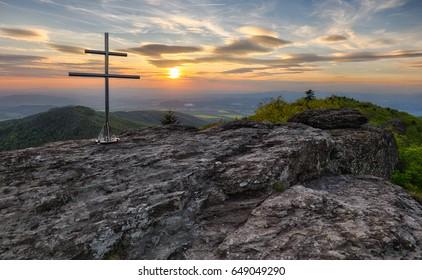 Mountain dramatic sunset panorama in peak Buchlov, Vtacnik