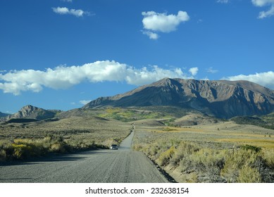 mountain in eastern sierra with local road