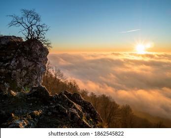 Mountain edge in the morning sunlight