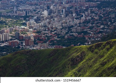 From the mountain El Avila you can see an aerial view of the city of Caracas, Venezuela