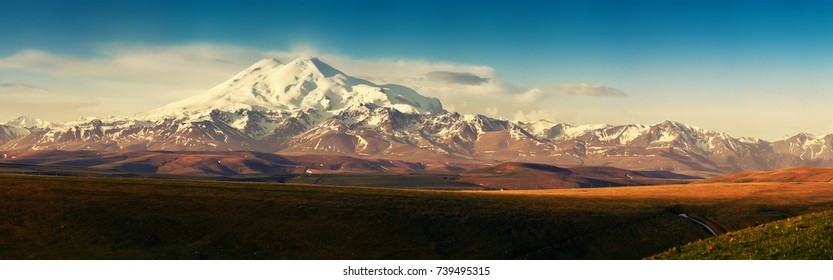 the mountain of elbrus Karachay-Cherkessia panorama