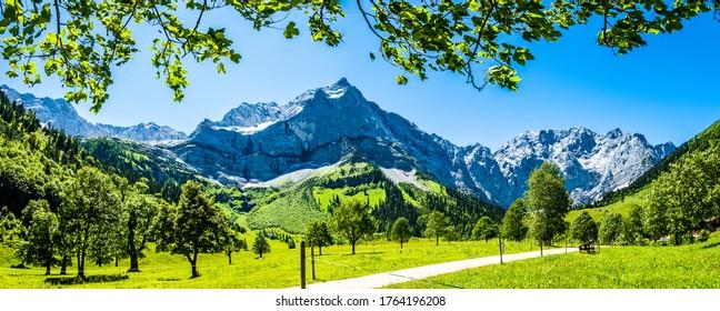 mountain at the eng alm in austria - spritzkarspitze
