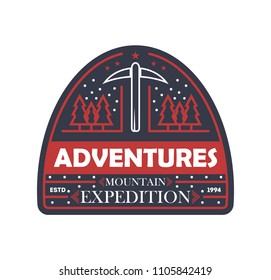 Mountain expedition vintage isolated badge. Outdoor explorer sign, touristic camping label, nature hiking illustration
