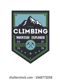 Mountain explorer vintage isolated badge. Outdoor discovery sign, touristic expedition label, nature hiking and trekking illustration