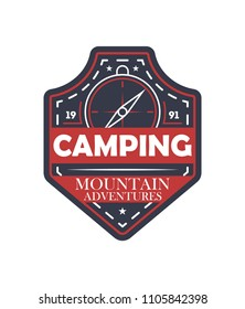 Mountain extreme adventures vintage isolated badge. Outdoor explorer sign, touristic camping label, nature expedition illustration