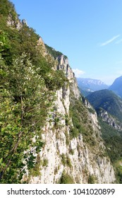 Mountain face with via ferrata Amicizia near Riva del Garda, Italy