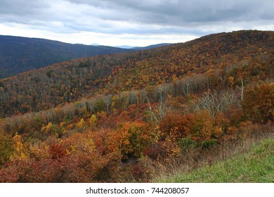 A mountain fall landscape with colorful trees. A view from the Skyline Drive in Shenandoah National Park, Virginia.
