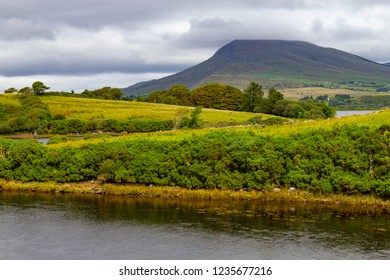 Mountain and farms in Great Western Greenway trail, Ireland