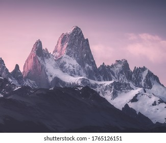 Mountain Fitzroy after sunset. In January 2020. From my photo-tour.