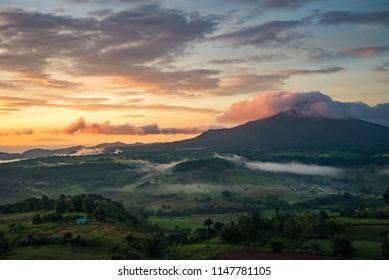 Mountain with foggy sunrise. View from the scenic Khao Takian Ngo-Khao Kho-Phetchabun Thai land.