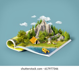 Mountain in forest, green meadow and camp tent near a lake on opened pages of magazine. Unusual 3d illustration. Travel and camping concept