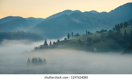 Mountain forest, hills and foggy landscape at sunrise