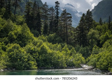 Mountain forest lake landscape. North Caucasus, Dombai, Baduk lakes