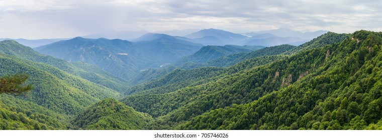 Mountain forest landscape at the foot of the Caucasus Mountains, Adygea, Russia.