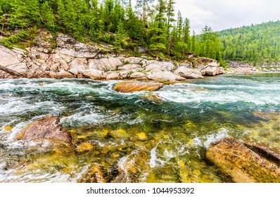 Mountain forest river flowing landscape. River trees panorama