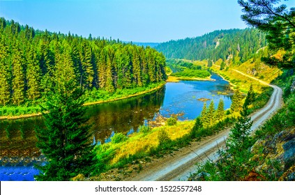 Mountain forest river landscape. Forest river in mountains. River forest landscape. Mountain forest river view