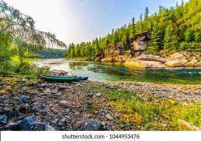Mountain forest river shore boat landscape