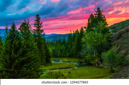 Mountain forest sunset view. Sunset mountain forest view. Mountain forest sunset scene. Mountain sunset forest landscape