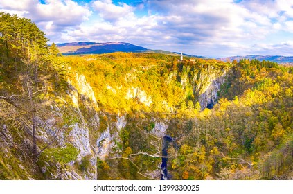 Mountain forest trees top view landscape in autumn. Atumn mountain forest top view. Autumn mountain forest trees top view panorama. Autumn mountain forest trees