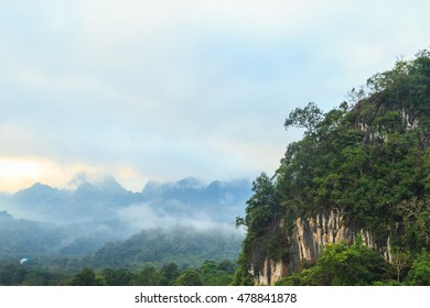 Mountain and forest  view in the morning with copy space, Thailand.