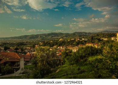 mountain forest village in Peloponnese Greece area in south Europe Mediterranean district picturesque scenery nature landscape background