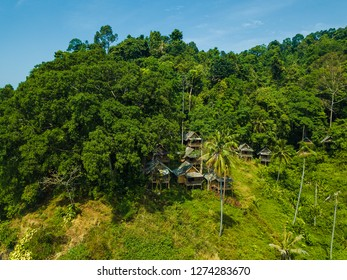 Mountain with forrest in Thailand with small chalets in the edge of the forrest, near the very nature.