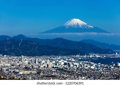 Mountain Fuji and city beach in morning, Shizuoka city area, Japan