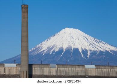 Mountain Fuji and Japan industry zone from Shizuoka prefecture