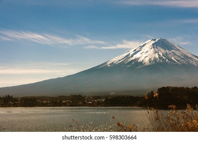mountain Fuji at Kawaguchiko lake in the morning, Japan