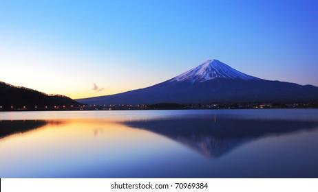 The mountain Fuji and lake reflections at dawn