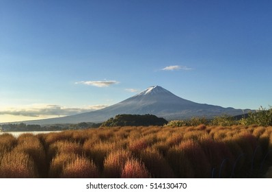 Mountain Fuji in morning at Lake Kawaguchiko, Yamanashi, Japan