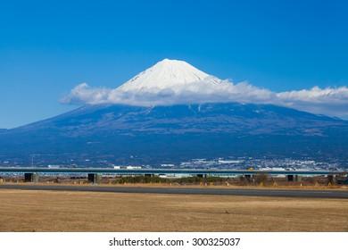 Mountain Fuji and railway in winter season from Shizuoka prefecture