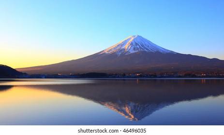 Mountain Fuji and reflection at dawn