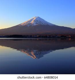 Mountain Fuji and reflection at early morning
