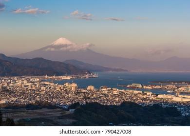 Mountain fuji with Shizuoka city and Suruga bay seen from Nihondaira.
