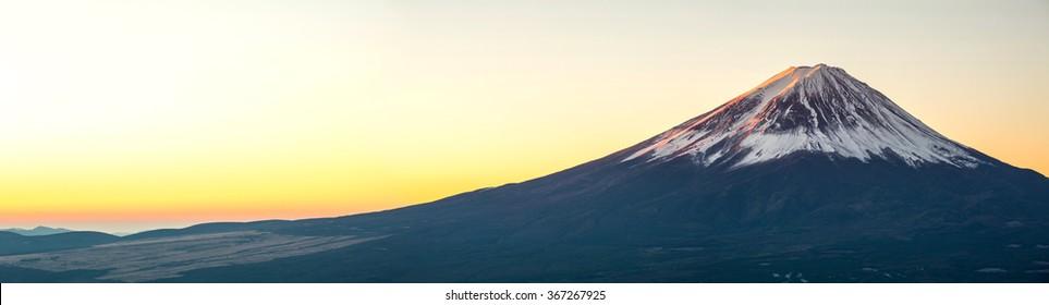 Mountain Fuji in winter sunrise panorama