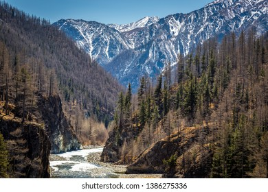 mountain gorge with river below