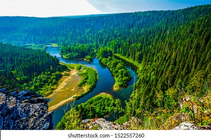 Mountain green forest river landscape. Forest river in mountains. Mountain forest river top view landscape. Mountain forest river top view