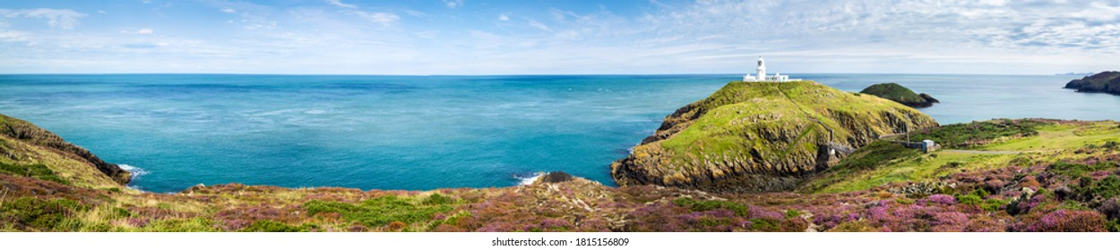 Mountain green hill sea panoramic landscape. Coastline sea panoramic landscape. Sea coastline panorama. Panorama of sea coastline