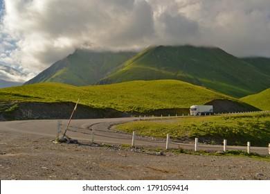 Mountain green hill valey landscape. Green mountain valley view. Mountain valley view
