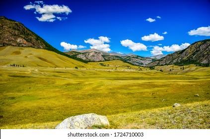 Mountain green valley landscape. Green mountain valley view. Mountain valley landscape. Mountain hill valley landscape