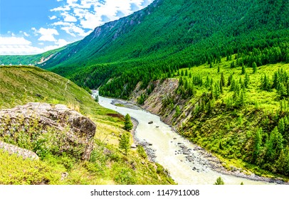 Mountain green valley river landscape. River valley in mountains. Mountain river valley panorama