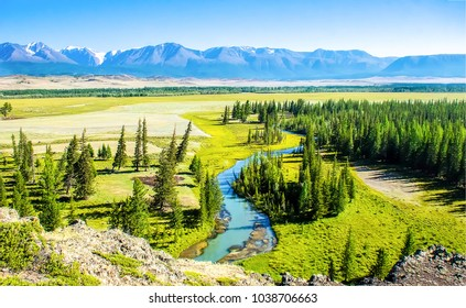 Mountain green valley river panoramic landscape
