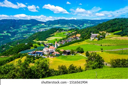 Mountain green valley village landscape. Mountain valley town panorama