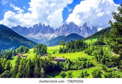 Mountain green valley village landscape