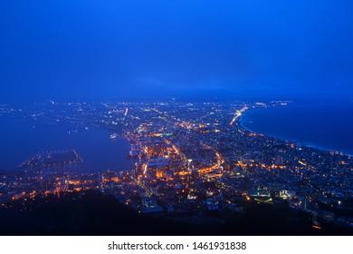 Mountain Hakodate bay landmark of Hokkaido ,Japan.