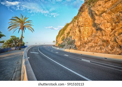 Mountain highway near the Calella town. Catalonia. Spain