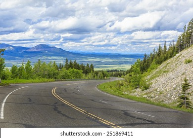 The mountain highway through the Canadian Rockies near Waterton Lakes National Park.