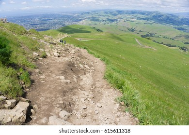 Mountain hiking trail in spring